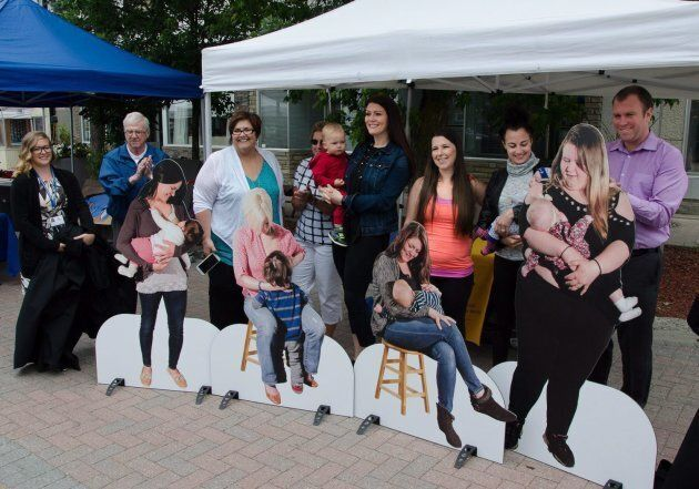 The breastfeeding models are unveiled at the launch of the Porcupine Health Unit's 'Breastfeeding in Public,' campaign at the Urban Park in Timmins on July 12, 2017.
