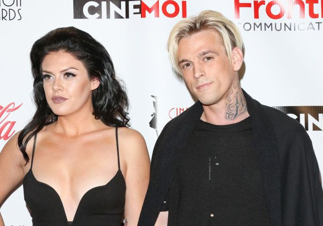 Singer Aaron Carter, right, and actress Madison Parker attend the Cinefashion Film Awards on Dec. 15,...