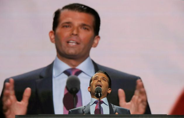 Donald Trump Jr. speaks at the 2016 Republican National Convention in Cleveland, Ohio on July 19,