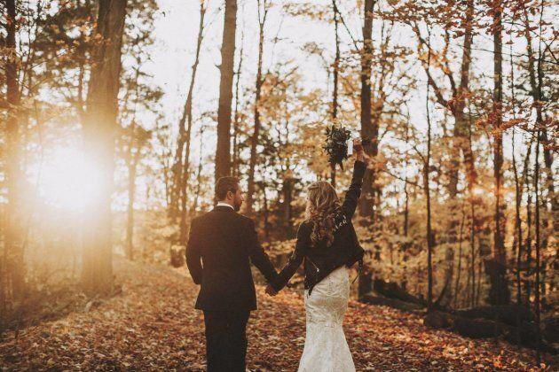 Jordana Halpert and her hubby John on a hike following their wedding ceremony.