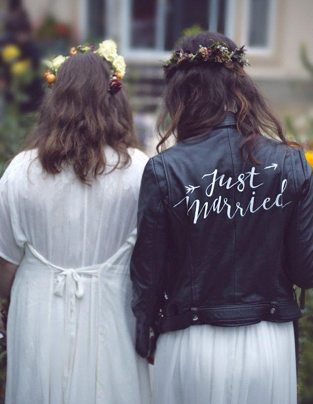 Amanda and Sarah Lake on their wedding day.