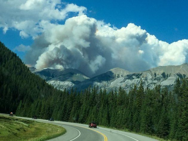 Smoke rises from the Verdant Creek wildfire in Kootenay National Park.