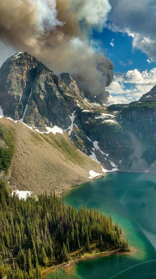 Smoke rises from the Verdant Creek fire in Kootenay National Park.
