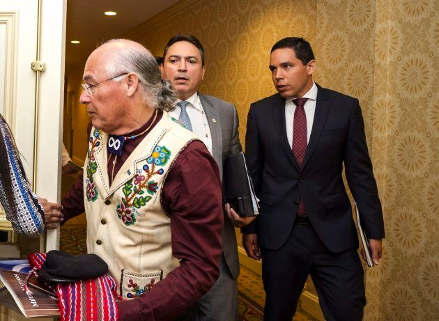 Metis Nation president Clement Chartier, Assembly of First Nations national chief Perry Bellegarde and...