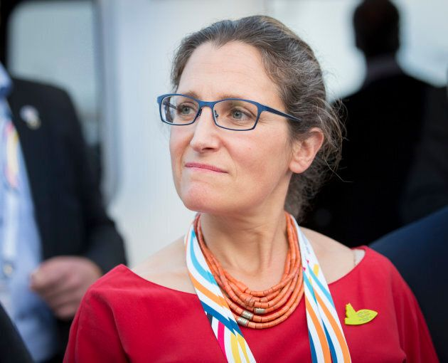 Chrystia Freeland, foreign affairs minister, joins the the G-20 summit on July 7, 2017 in Hamburg,