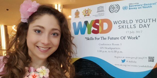 Kelly Lovell speaking at the United Nations for World Youth Skills Day on the importance of inspiring...