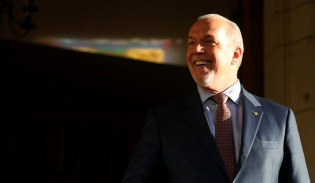 British Columbia Premier-designate John Horgan makes a statement to the media at Government House following...