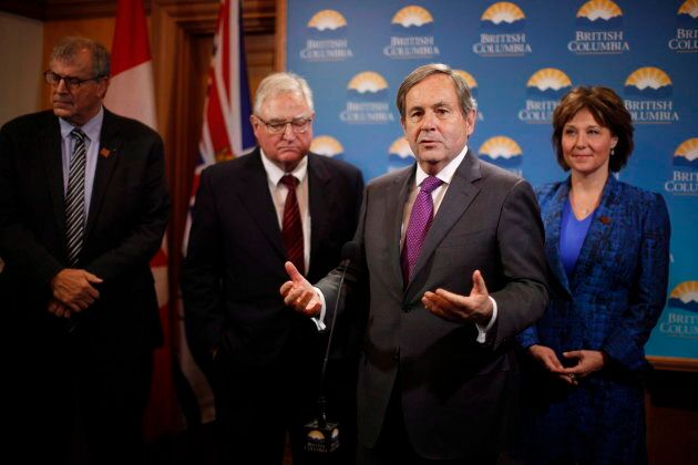 Canada's ambassador to the United States David McNaughton speaks to media at legislature in Victoria...