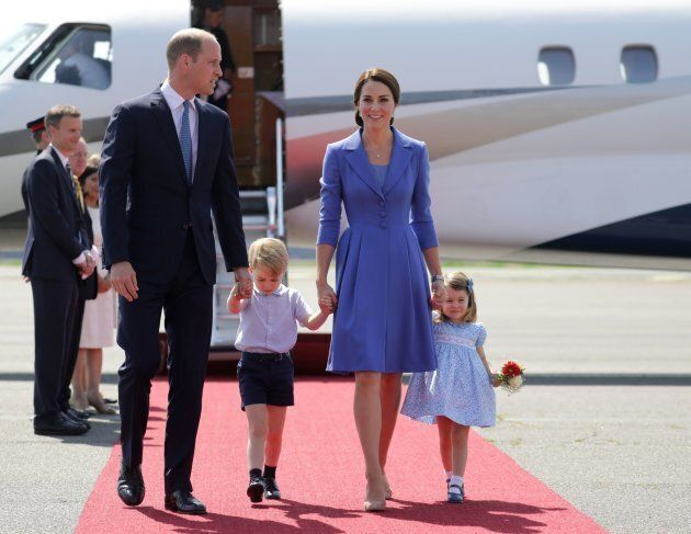 Prince William, Duke of Cambridge, his wife Kate, the Duchess of Cambridge with their children Prince...