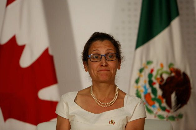 Foreign Minister Chrystia Freeland looks on during an event organised by Americas Society/Council of...
