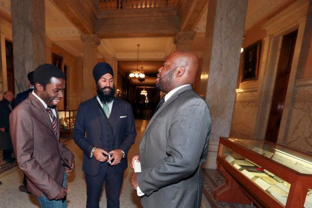 Journalist Demond Cole, left, then-deputy Ontario NDP leader Jagmeet Singh, centre, and African Canadian Legal Clinic lawyer Anthony Morgan in the halls of Ontario legislative building on Oct. 28, 2015.