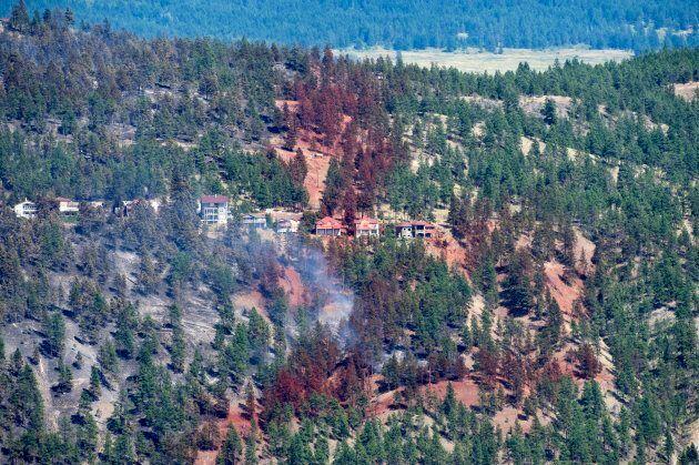 Smoke and fire retardant is seen along a neighbourhood in Lake Country, B.C., on