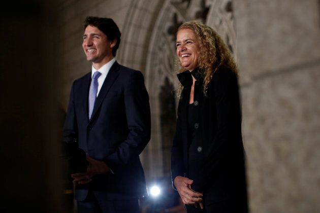 Julie Payette and Prime Minister Justin Trudeau take part in a news conference announcing Payette's appointment...