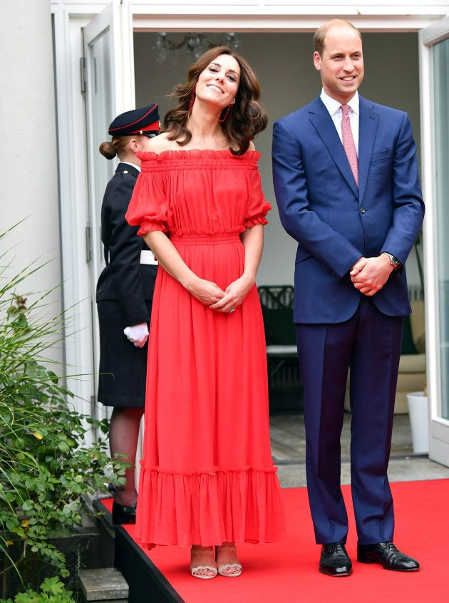 Prince William and Catherine, Duchess of Cambridge arrive at the 'Queen's Birthday Garten Party' in British...