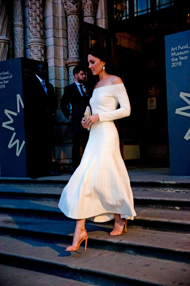 Catherine, Duchess of Cambridge leaves after announcing the Victoria and Albert Museum as the winner...