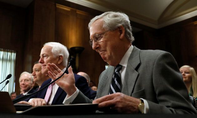 U.S. Senate Majority Leader Mitch McConnell attends a committee hearing on Capitol Hill in Washington,...