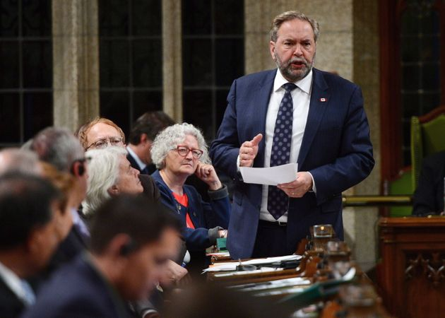 NDP Leader Thomas Mulcair stands during question period in the House of Commons on Parliament Hill in...