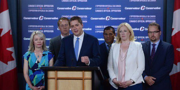 Conservative Party Leader Andrew Scheer holds a media availability in the National Press Theatre in Ottawa...