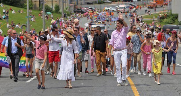From left to right: Xavier Trudeau, Sophie Gregoire Trudeau, Prime Minister Justin Trudeau and Ella-Grace...
