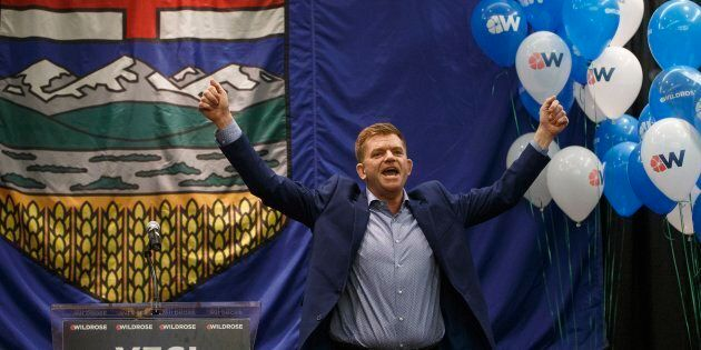 Wildrose leader Brian Jean celebrates the yes vote at a special general meeting in Red Deer Alta, on...