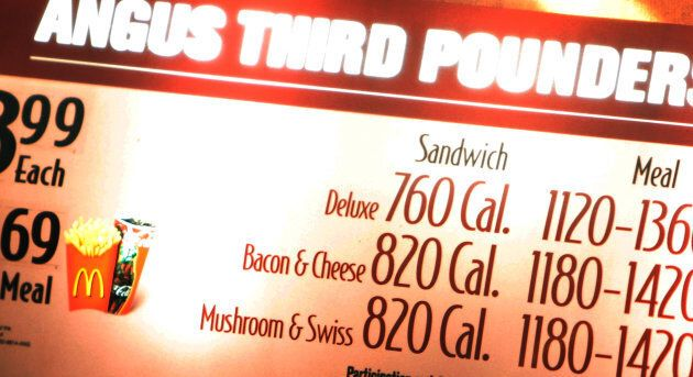 Calorie counts are listed in a fast-food restaurant.