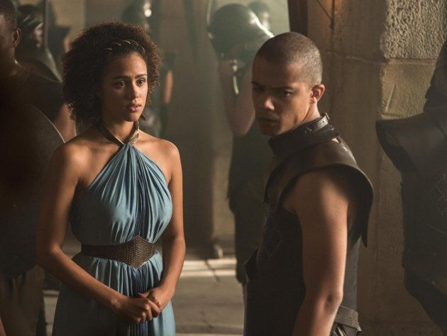 Missandei and Grey Worm, played by Nathalie Emmanuel and Jacob