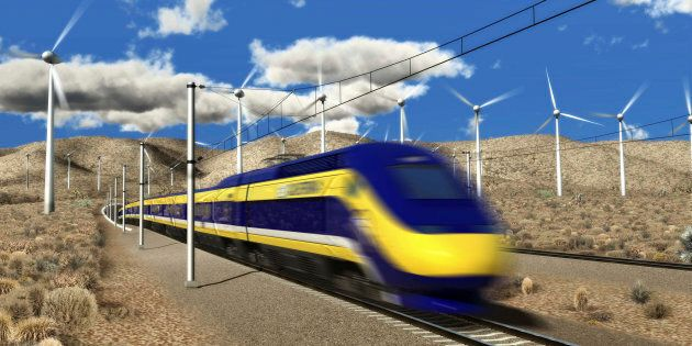 An artist's rendition of a planned high-speed train in California, courtesy of the California High-Speed...