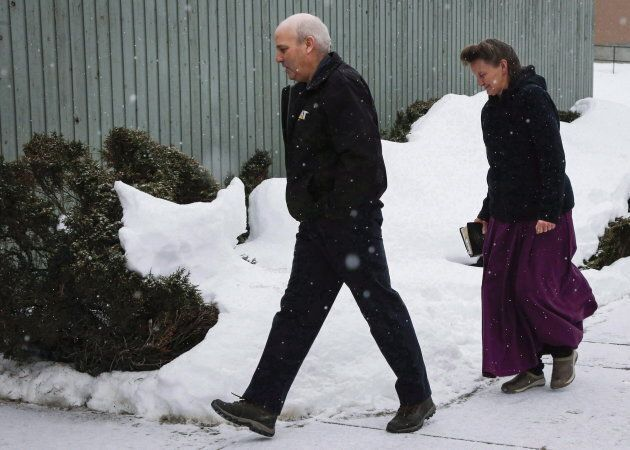 Gail Blackmore and James Oler arrive at the courthouse in Cranbrook, B.C., on Feb. 3,
