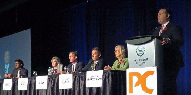 Former Conservative MP Jason Kenney speaks at the Alberta Progressive Conservative party leadership forum...