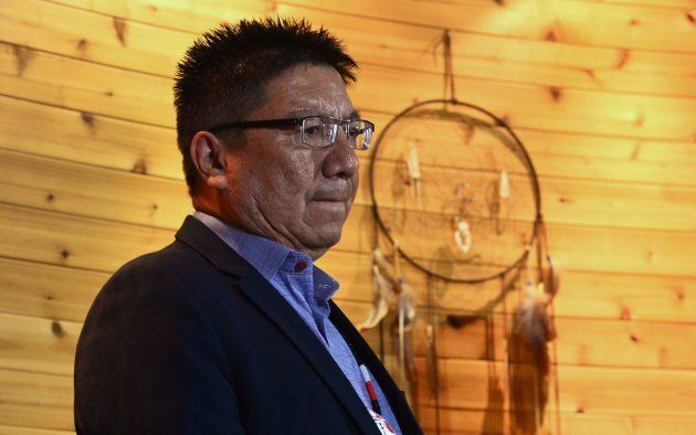 Nishnawbe Aski Nation Grand Chief Alvin Fiddler listens at a press conference in Ottawa on