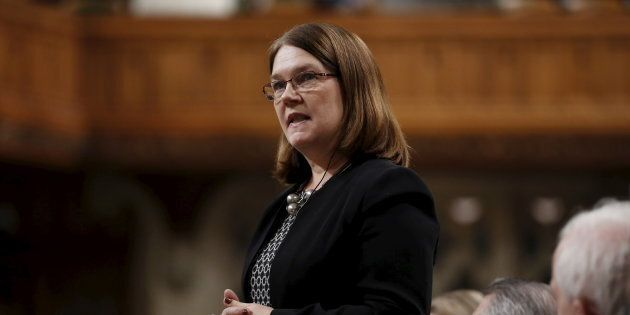 Canada's Health Minister Jane Philpott speaks during Question Period in the House of Commons on Parliament...