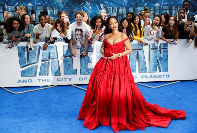 "Cast member Rihanna poses at the European premiere of ""Valerian and the City of a Thousand Planets"" in London, Britain July 24, 2017."