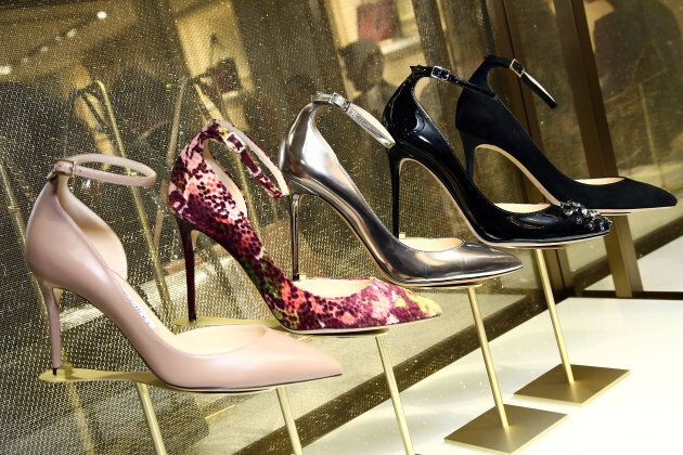 Jimmy Choo shoes are displayed during Jimmy Choo x DKMS Charity Cocktail Party at Jimmy Choo on October...