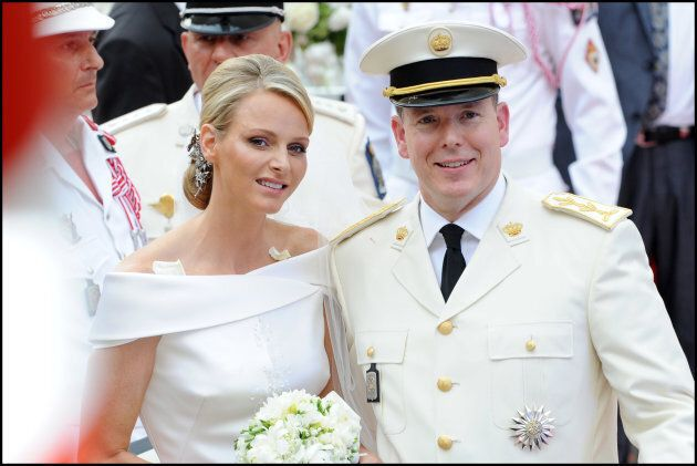 Princess Charlene of Monaco and Prince Albert II of Monaco leave the religious ceremony of the Wedding...