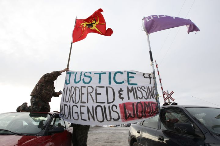 Native protesters block the VIA train tracks and Wyman's road near Shannonville, Ont., on Wednesday March 19, 2014. The protesters want justice for murdered and missing indigenous women.