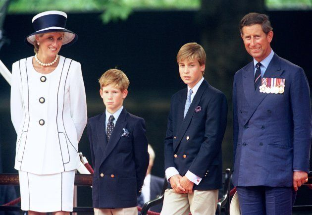 The Prince and Princess Of Wales, Princes William and Harry in 1995. (Photo by Antony Jones/Julian Parker/UK...