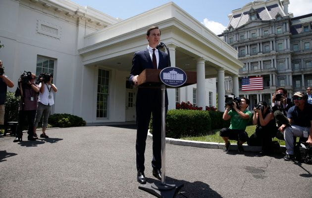 White House Senior Adviser Jared Kushner speaks to members of the White House press following his appearance...