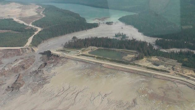 The results of a tailing pond breach at Imperial Metals Corp's gold and copper mine at Mount Polley in...