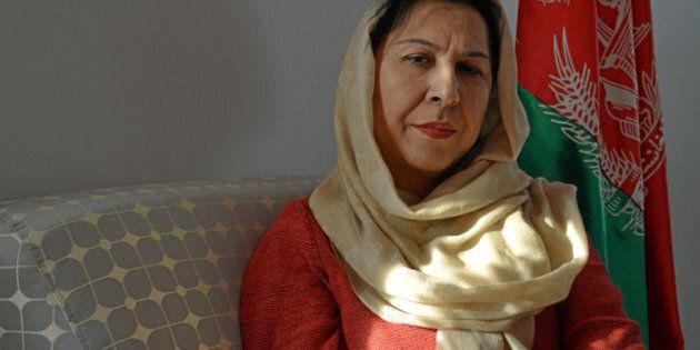 Afghanistan's envoy, Shinkai Karokhail at the Embassy of Afghanistan in Ottawa December