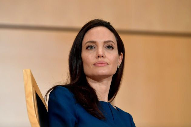 Angelina Jolie speaks at the annual lecture of the Sergio Vieira De Mello Foundation held at the United Nations Office at Geneva on March 15, 2017 in Geneva.