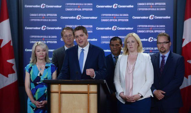 Conservative Leader Andrew Scheer makes an announcement with MPs Candice Bergen, Chris Warkentin, Alain...