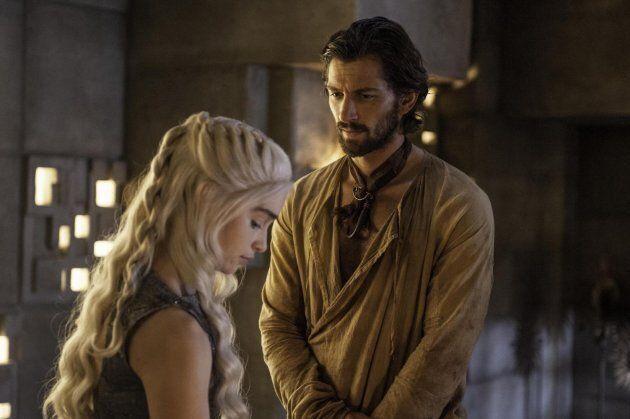Daenerys Targaryen and Daario Naharis, played by Emilia Clarke and Michiel