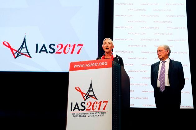 International AIDS Society president Linda-Gail Bekker (L) and President of the French National Ethics Advisory Committee (CCNE - Comite consultatif national d'ethique) and conference chairman Jean-Francois Delfraissy (R) attend the opening of the 9th International AIDS Society conference on HIV Science on July 23, 2017, in Paris, France.