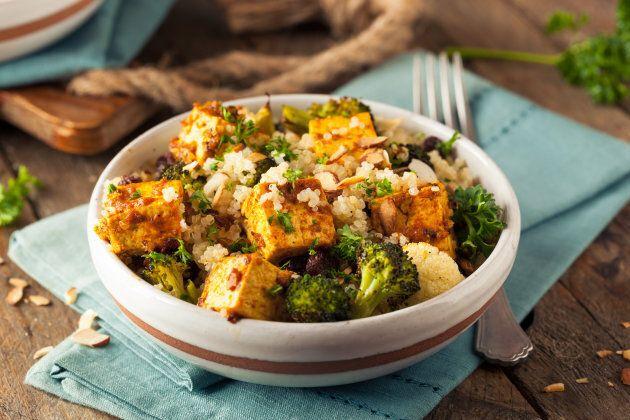Homemade Quinoa Tofu Bowl with Roasted Veggies and