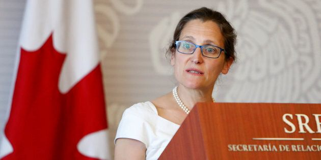 Foreign Affairs Minister Chrystia Freeland speaks in Mexico City, Mexico on May 23,
