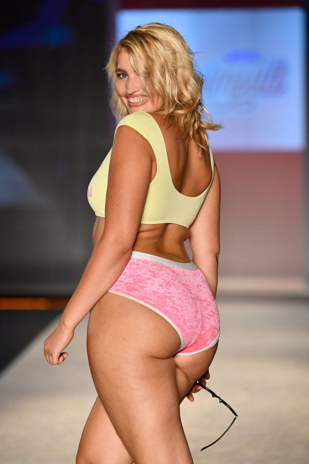 Model Sarina Nowak walks the runway during SWIMMIAMI Sports Illustrated Swimsuit 2018 Collection in Miami...