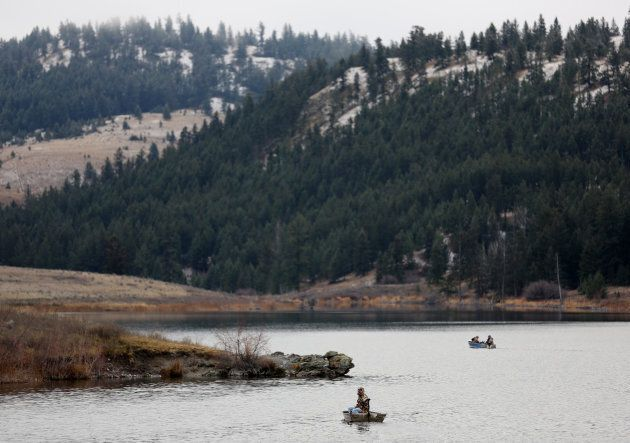 Boaters fish for trout on Jacko Lake, near the site of a proposed expansion of Kinder Morgan's Trans Mountain Pipeline, as well as a proposed Ajax copper mine, in the grasslands on the outskirts of Kamloops, B.C. Nov. 16, 2016.
