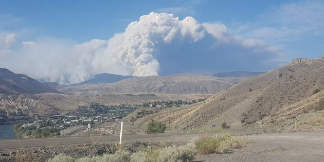A view of Ashcroft, B.C. and the Elephant Hill fire on July 14, 2017.