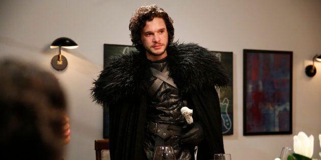 Kit Harrington as Jon Snow during the 'Game of Thrones' skit on Late Night With Seth Meyers, April 2,