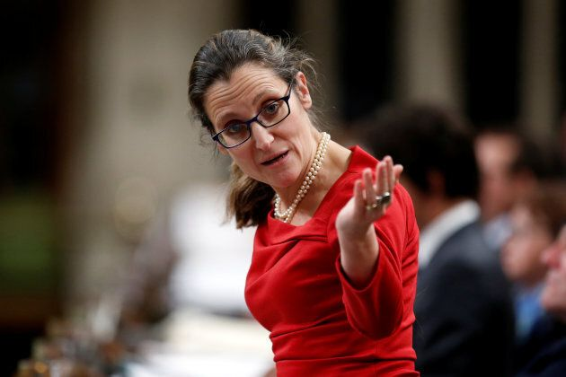 Chrystia Freeland speaks during Question Period in the House of Commons on Jan. 31,